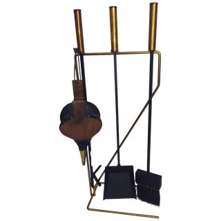 Mid-Century Modern Brass and Black Iron Modernist Firetool Set For Sale