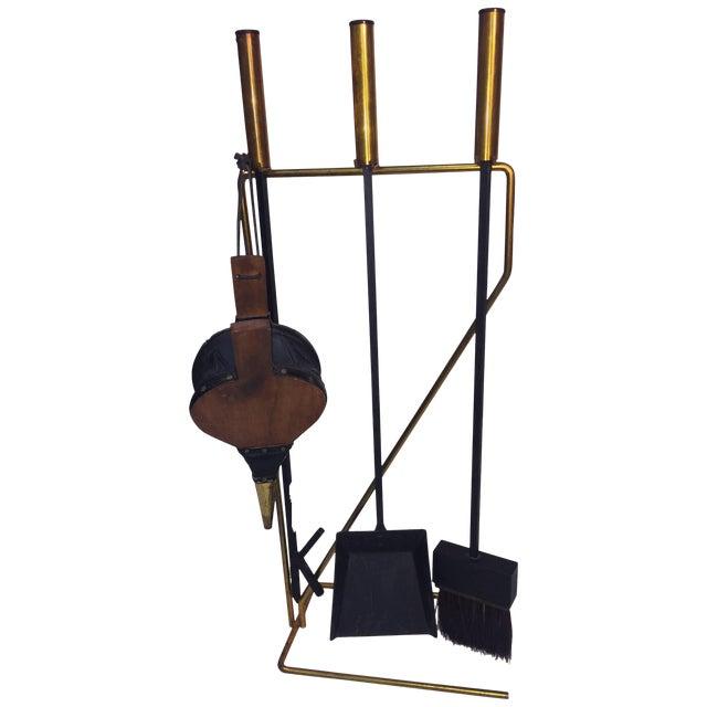 Mid-Century Modern Brass and Black Iron Modernist Firetool Set For Sale