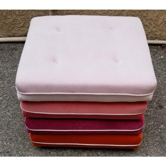 Custom Made Velvet Multi Color Otttoman For Sale - Image 4 of 5
