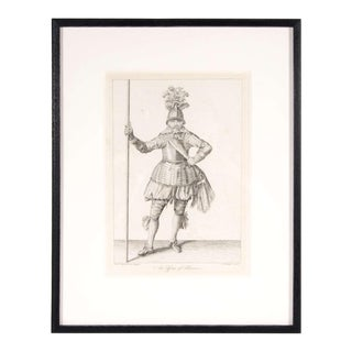 Antique Copper Engraving of an Officer of Pikeman by Francis Grose For Sale