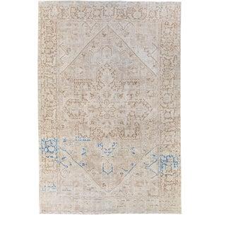 Antique Persian Heriz Beige Handmade Medallion Designed Wool Rug For Sale