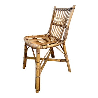 Louis Sognot 1950's Mid-Century Modern Rattan Side Chair For Sale