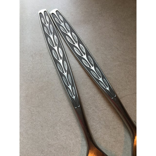 Mid-Century Modern Mid-Century TH Marthinsen Pewter Salad Serving Utensils - a Pair For Sale - Image 3 of 7