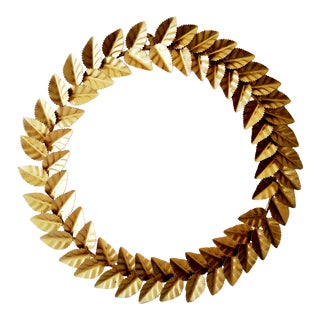 Modern Metallic Gold Leaf Round Christmas Wreath For Sale