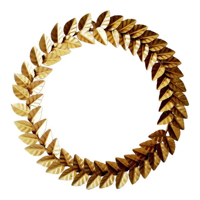 Modern Metallic Gold Leaf Round Christmas Wreath For Sale