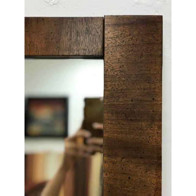 Wood Mid-Century Modern Brutalist Hanging Mirror For Sale - Image 7 of 10