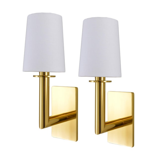 Brass Phoenix Day Polished Brass Jacob Sconces - a Pair For Sale - Image 8 of 8