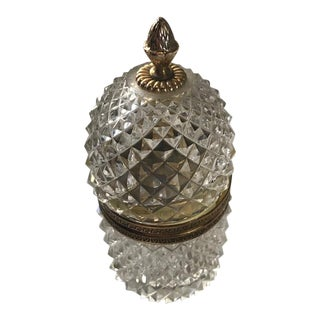 Vintage Crystal Hand Cut Lidded Box For Sale