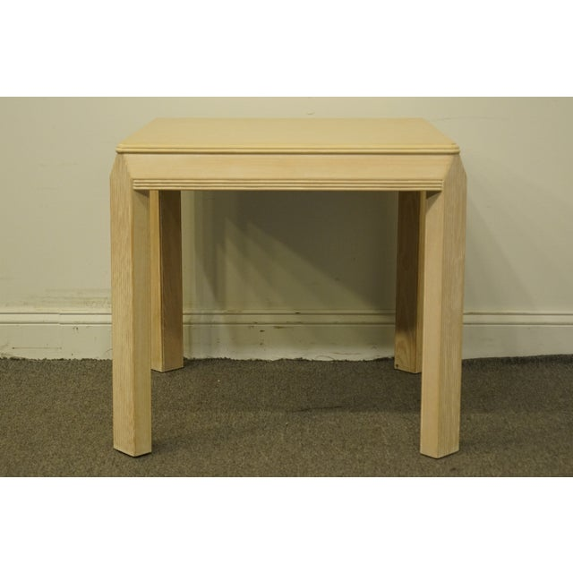 """Late 20th Century 20th Century Transitional Drexel Heritage Collection Contemporary Blonde 27"""" Square Accent Table For Sale - Image 5 of 10"""