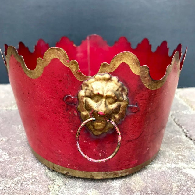Vintage Mid Century French Tole Cache Pot Jardinière For Sale - Image 4 of 9