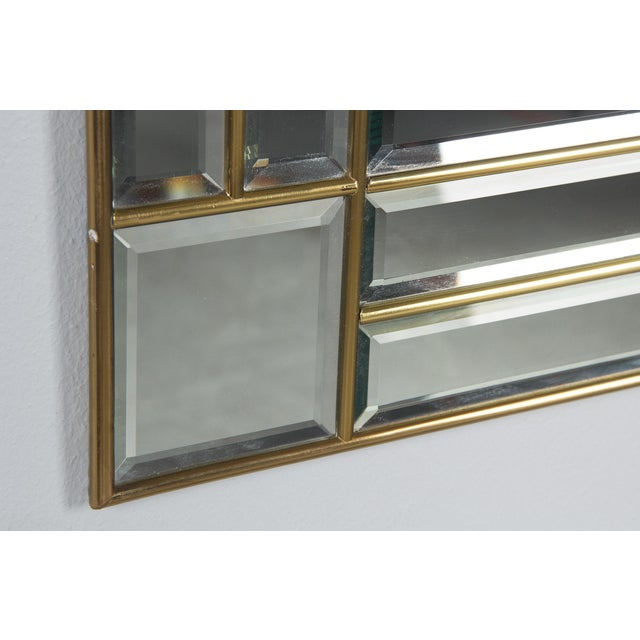 1970s Italian Beveled Glass Mirror With Brass Frame For Sale - Image 11 of 13