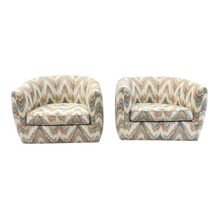 Milo Baughman Style Mid-Century Swivel Club Chairs - A Pair For Sale