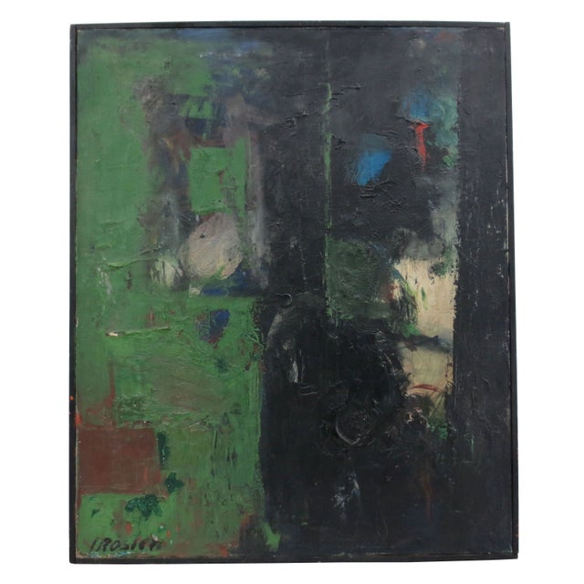 Vintage Green Abstract Painting by Rosien - Image 1 of 5