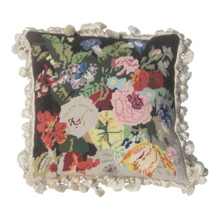 1990s Wool and Silk Flower Needlpoint Pillow For Sale