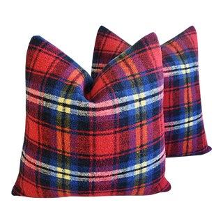 Custom Tailored Scottish Tartan Plaid Wool Feather/Down Pillows - A Pair