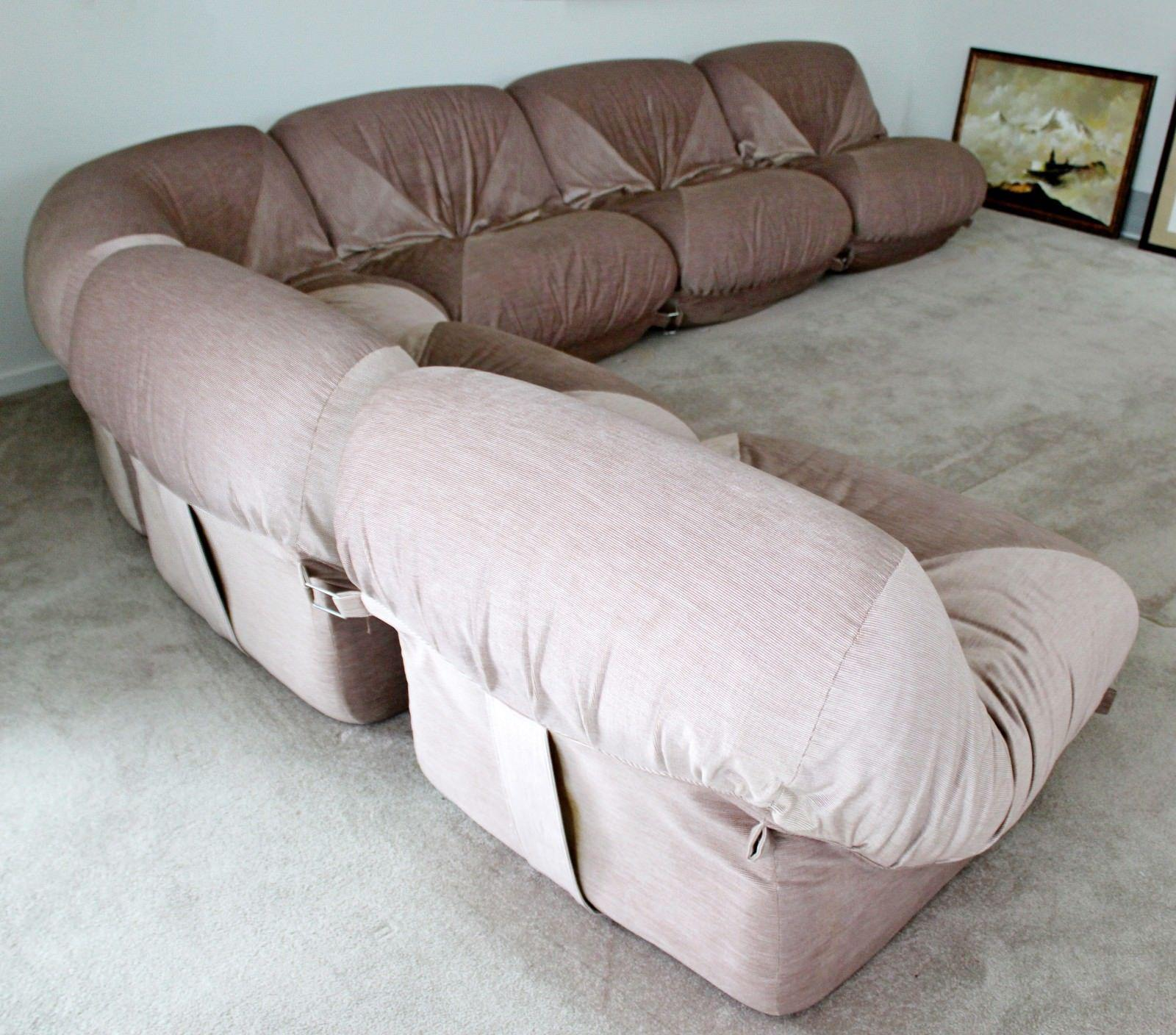 Airborne Mid Century Modern Airborne Patate 6 Piece Sectional Sofa 70s  Velvet French For Sale