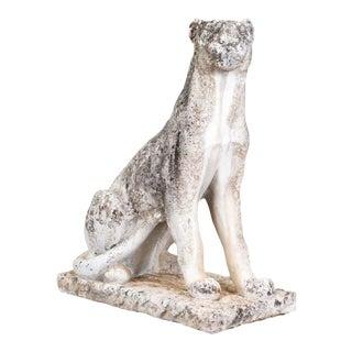 Late 19th Century Antique Concrete Leopard Statue For Sale