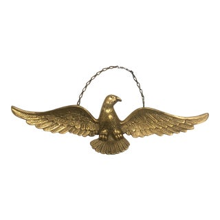 Vintage Brass Spread-Wing Eagle Wall Plaque For Sale