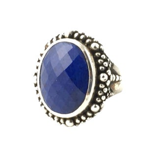 Dweck Sodalite & Silver Beaded Cocktail Ring For Sale