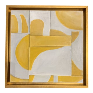 Custom Modern Abstract Yellow and White Painting from Houston Artist For Sale