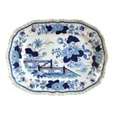 Image of Mid Antique 19th Century Blue & White Transferware Ironstone Chinoiserie Platter For Sale