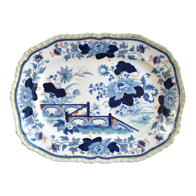 Mid Antique 19th Century Blue & White Transferware Ironstone Chinoiserie Platter For Sale