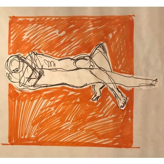 Modern Nude Figure Mixed Media Collage Drawing by Hilliard Dean For Sale