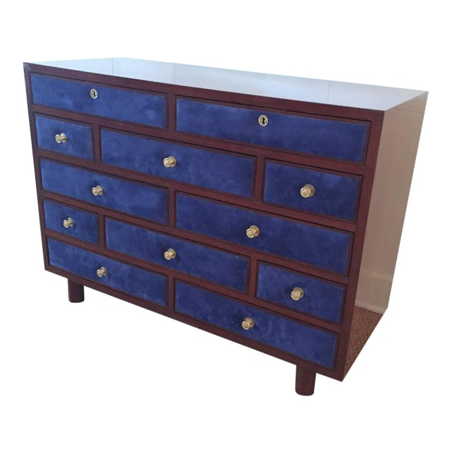 Maison Jansen Chest of Drawers with Blue Suede and Gold-Plated Pulls For Sale In Miami - Image 6 of 6