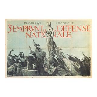 1917 French Wwi War Bonds Poster, 3e Emprunt De La Defense Nationale For Sale