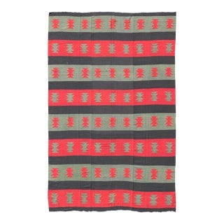 Large Vintage Kilim Rug With Tribal Shapes and Stripes in Red, Brown and Green For Sale