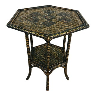 Multi Color Cane Side Table For Sale
