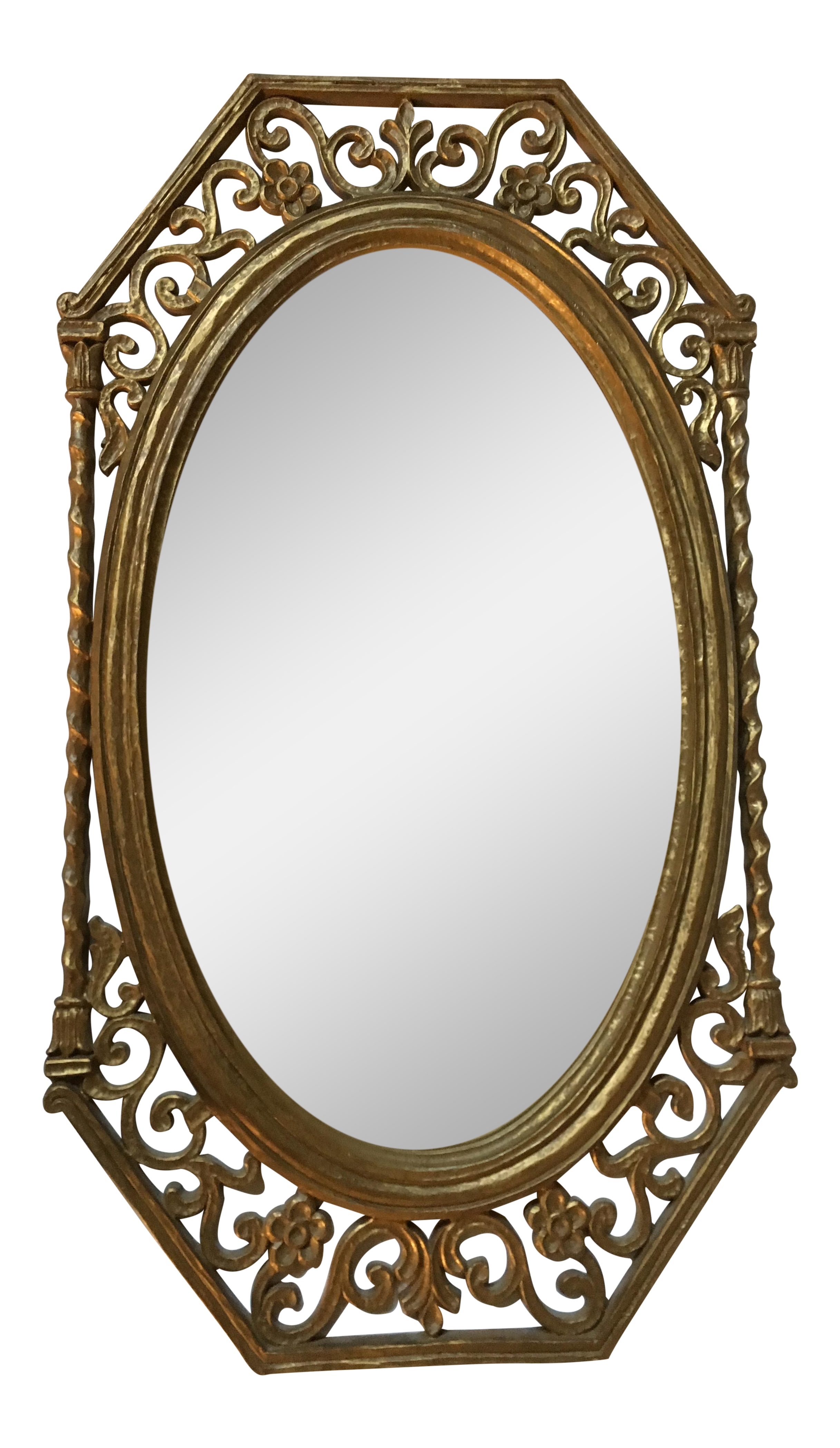 Lovely Vintage Syroco Oval Gold Gilt Mirror | Chairish PW42
