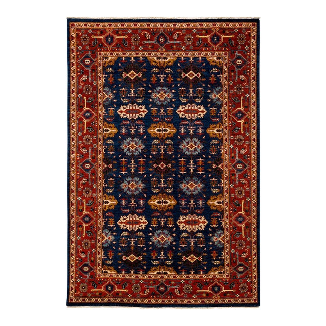 """Traditional Hand Knotted Area Rug - 6'1"""" X 9'2"""" - Image 1 of 4"""