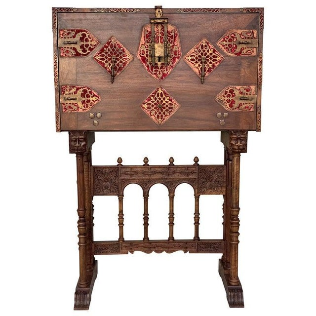 18th Spanish Bargueno of Columns With Foot Bridge, Cabinet on Stand For Sale - Image 13 of 13