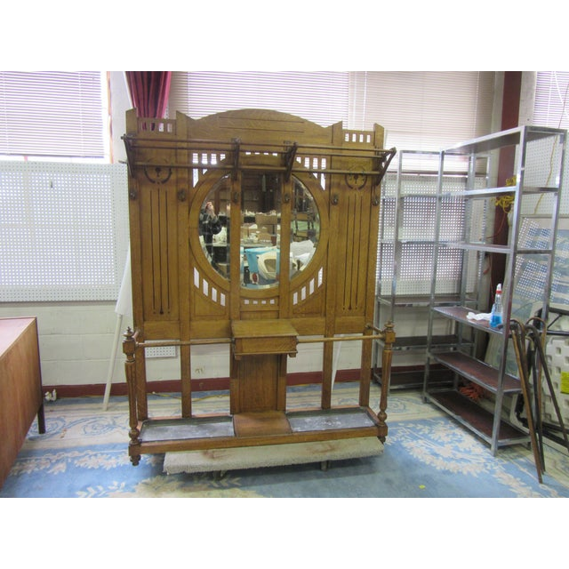 Antique English Arts and Crafts Oak Coat Rack, Hat Rack and Umbrella Stand For Sale - Image 10 of 11