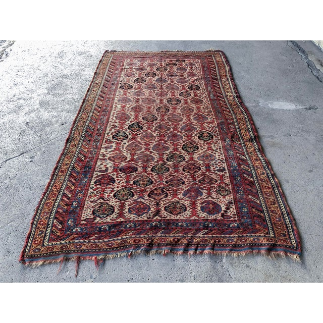 1910s Antique Distressed Persian Khamseh Boho Tribal Rug - 5x9 Wide Runner For Sale - Image 5 of 7