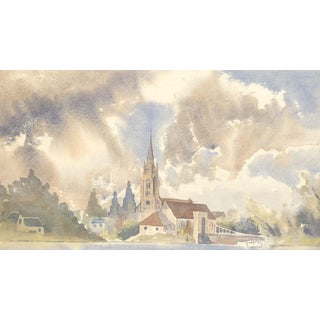 Mid-Century Watercolor Landscape For Sale