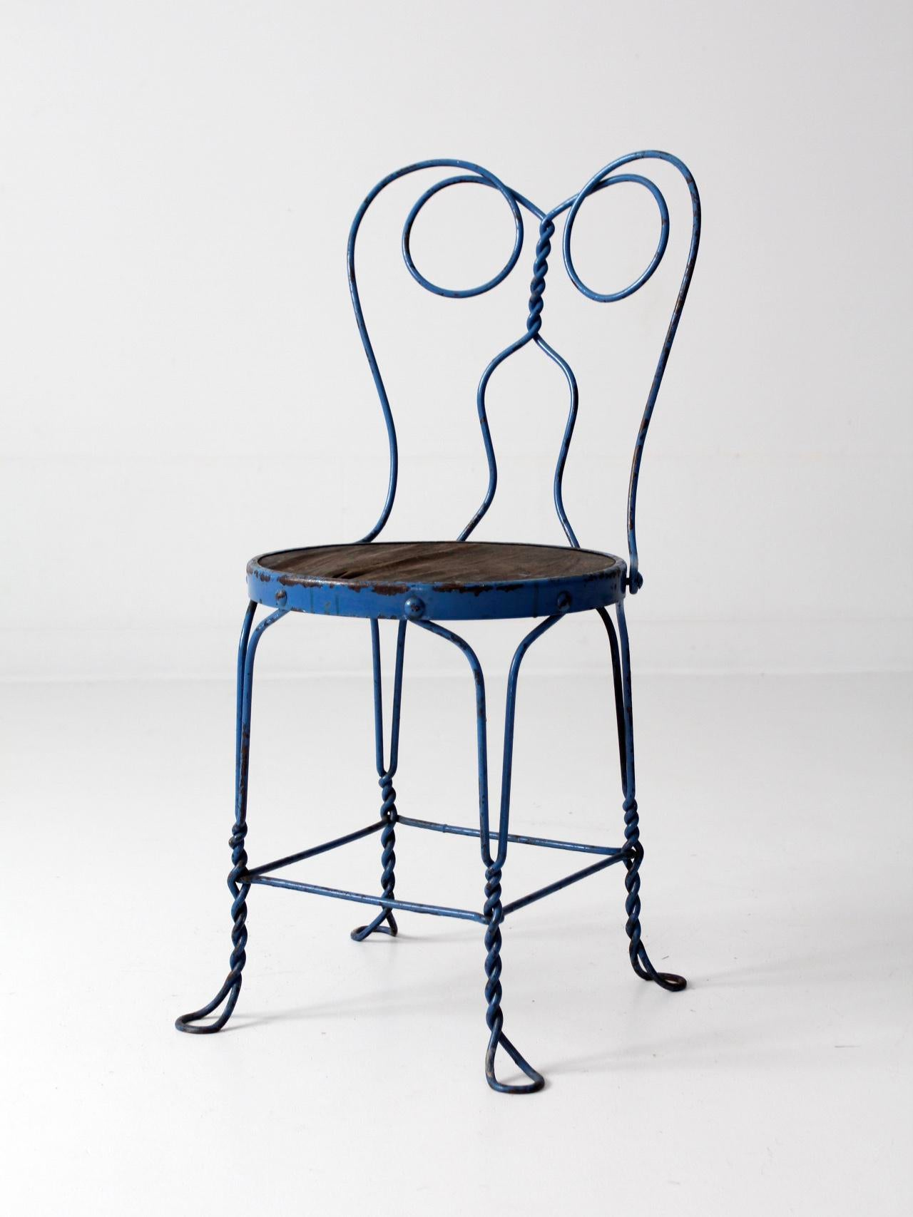 Vintage Blue Ice Cream Parlor Chair For Sale   Image 9 Of 10