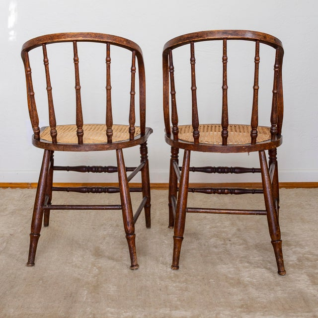 Caning 19th Century Vintage Cane Seat Spindle Back Windsor Primitive Bow Back Chairs For Sale - Image 7 of 13