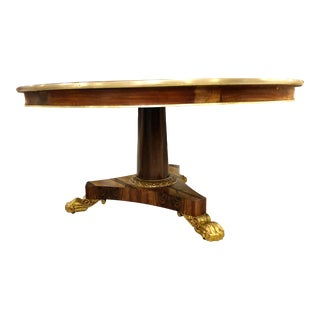Regency Bronze Banded Gilt Accented Center Table with Claw Feet For Sale