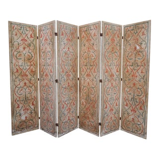 Vintage Moorish Style Hand Painted Room Divider/Screen For Sale