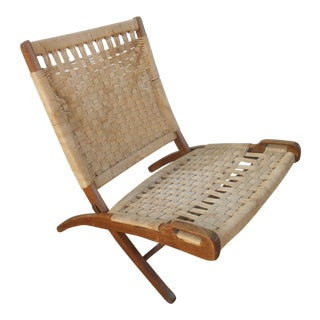 1960s Vintage Hans Wegner Style Rope Folding Chair For Sale