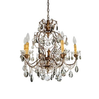 French 6 Light Crystal Chandelier For Sale