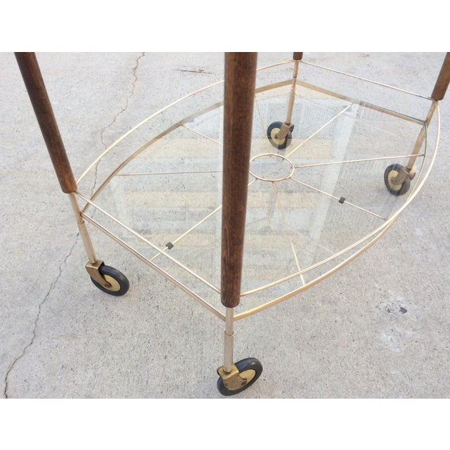 Mid-Century Brass & Glass Bar Cart - Image 6 of 11