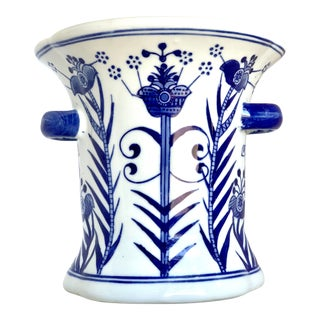 Chinoiserie Blue & White Hand Painted Cachepot For Sale