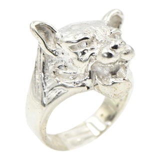 3d Sterling Silver Figural Tiger Ring For Sale