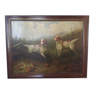 Vintage Maitland Smith Plantation Style Hunting Sporting Spaniel Dogs Oil Painting For Sale