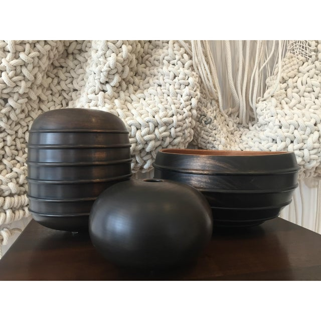 Abstract Ebonized Turned Cherry Wood 'Hollow' Vessel No. 1 For Sale - Image 3 of 4