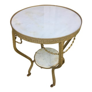 1920s Egyptian Revival Marble and Metal Two-Tier Round Occasional Table