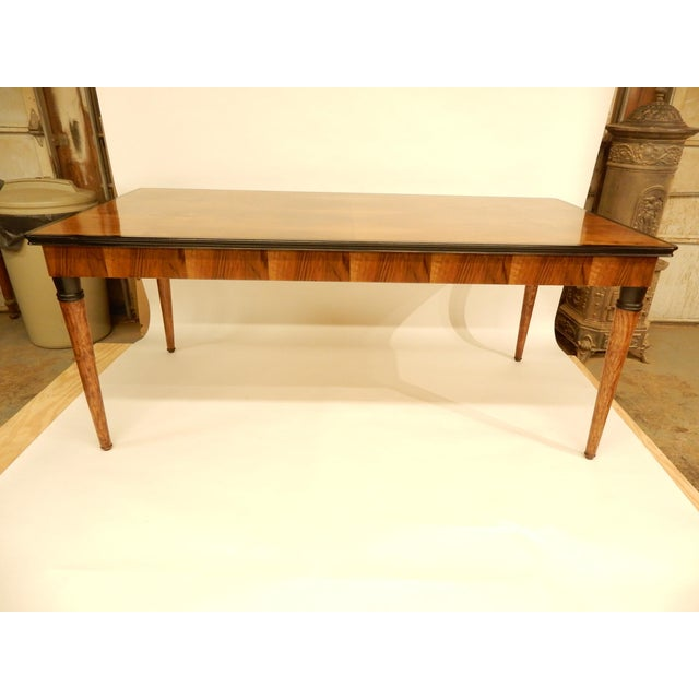 Art Deco 1940's French Veneered Walnut Dining Table For Sale - Image 3 of 8